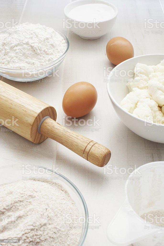 Flour, eggs and ricotta cheese stock photo