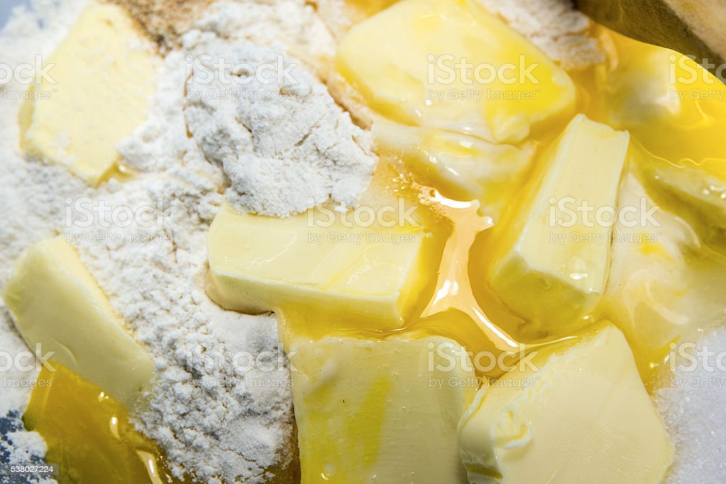 flour, eggs, butter and sugar, ingredients for shortcrust pastry stock photo