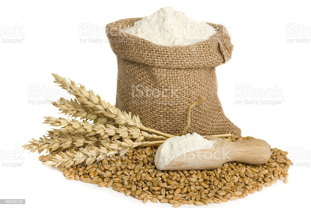 flour in small burlap sack stock photo