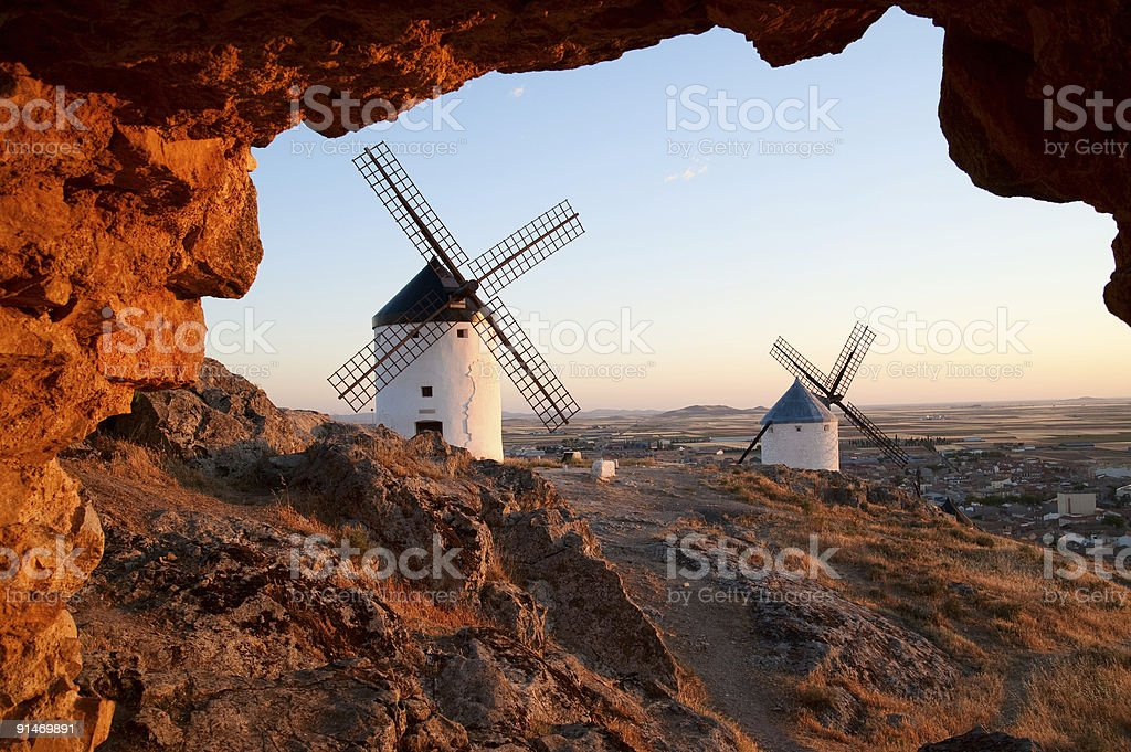 Flour mills. La Mancha stock photo