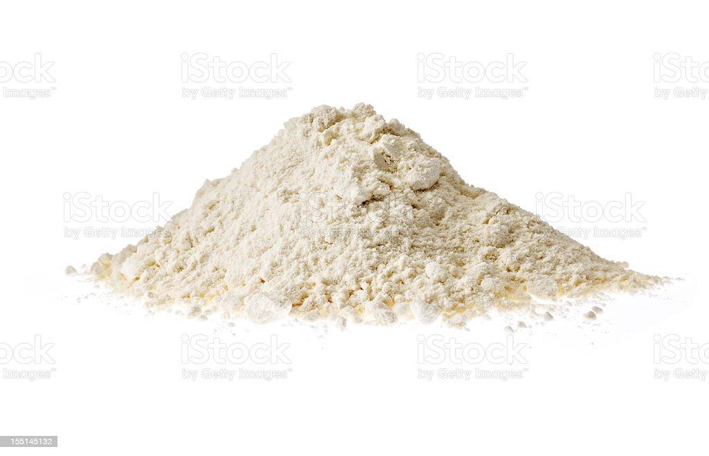 Flour on white background stock photo