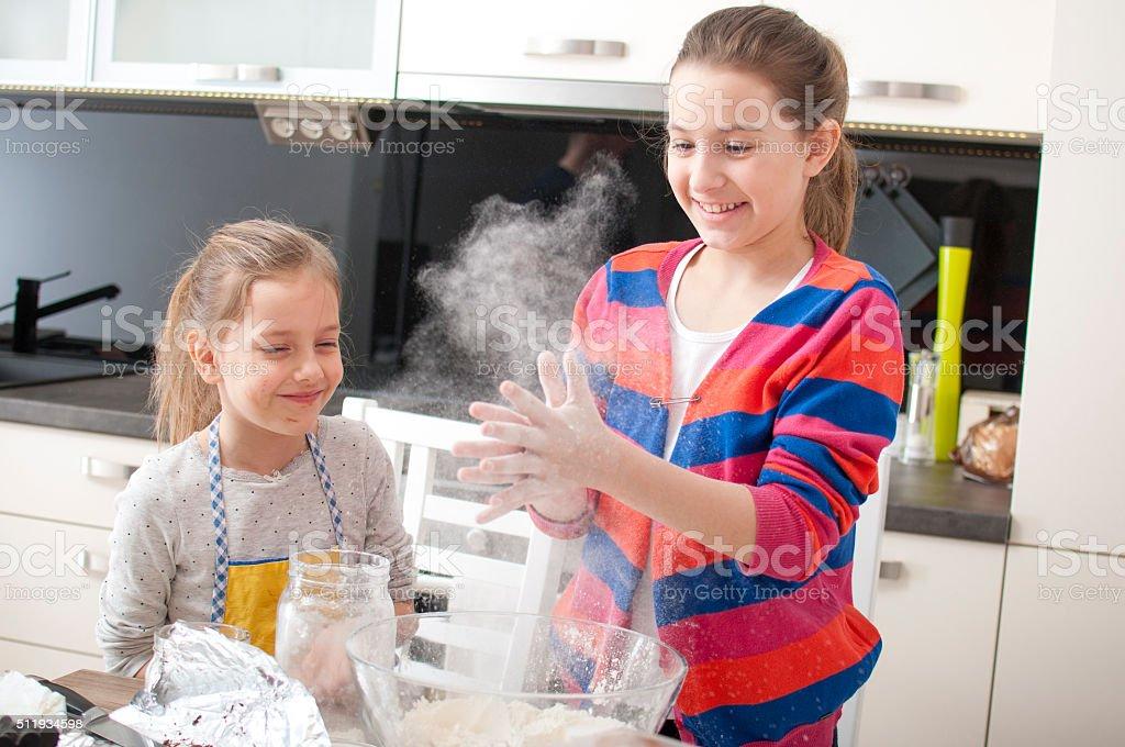 Flour party! stock photo