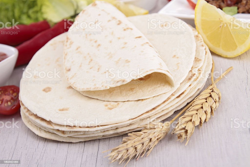 flour tortilla and ingredient stock photo
