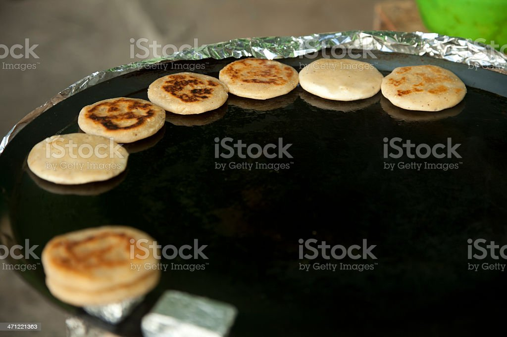 Flour Tortillas Cooking on Outdoor Griddle, Mexico, Copyspace royalty-free stock photo