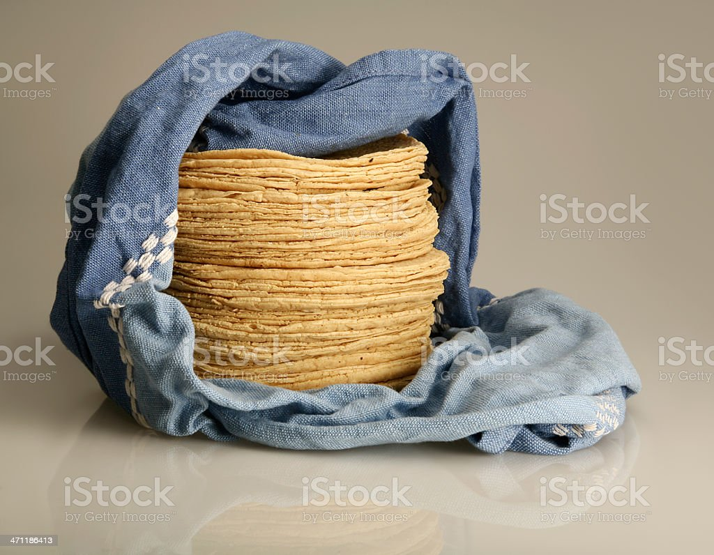 Flour tortillas wrapped up in a blue blanket stock photo