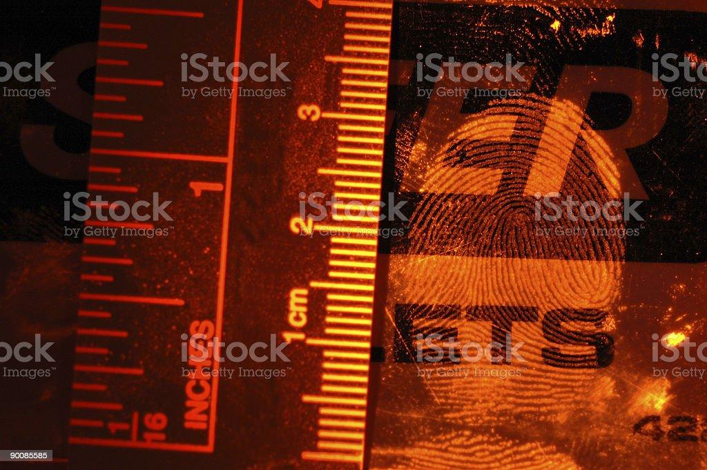 Flourescent fingerprint royalty-free stock photo
