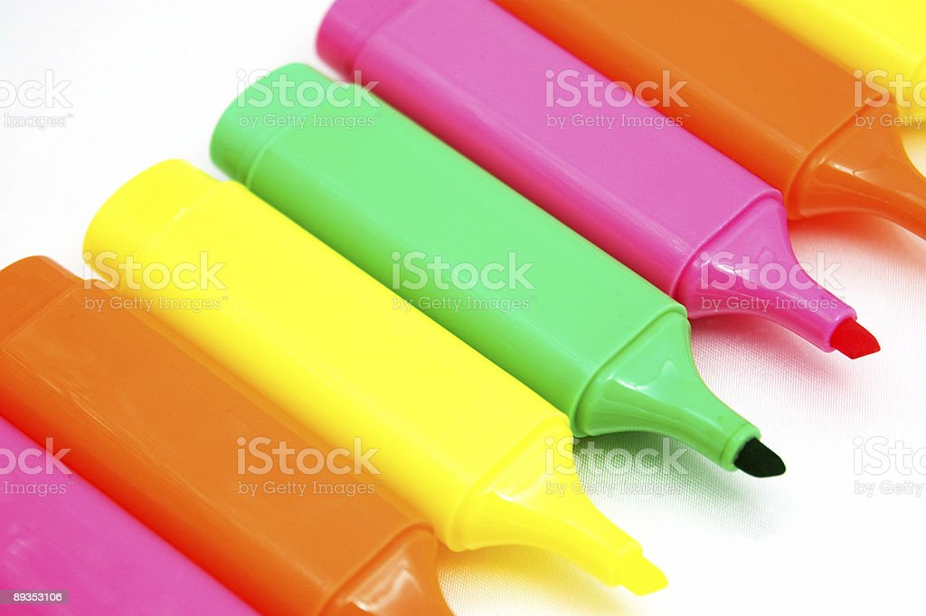Flourescent Markers royalty-free stock photo