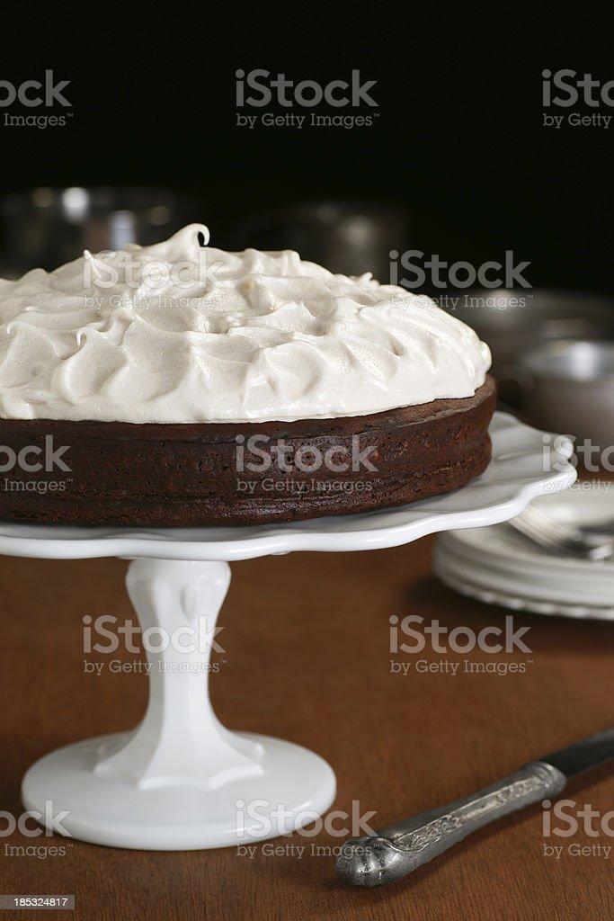 Flourless Chocolate Meringue Cake stock photo