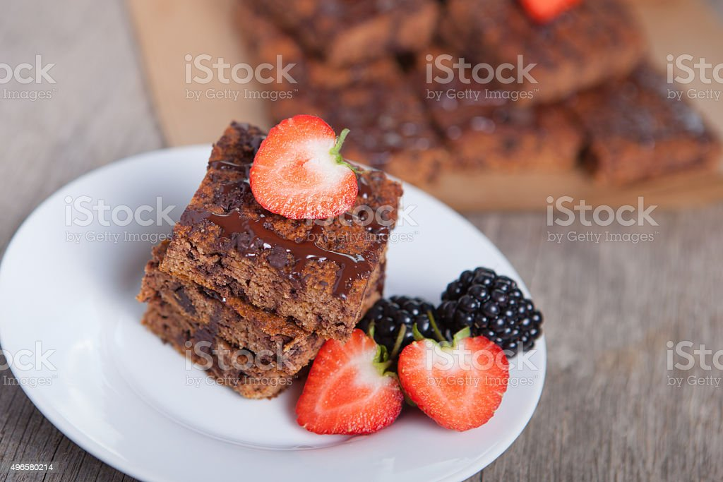 Flourless healthy pumpkin brownies stock photo