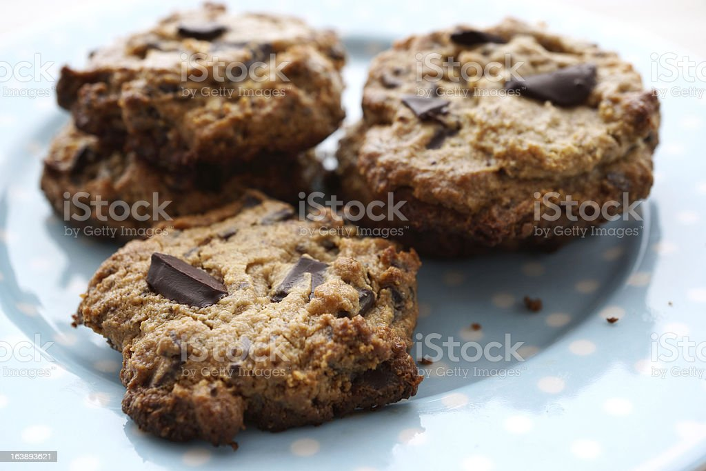 Flourless Peanut Butter Chocolate Chip Cookies royalty-free stock photo