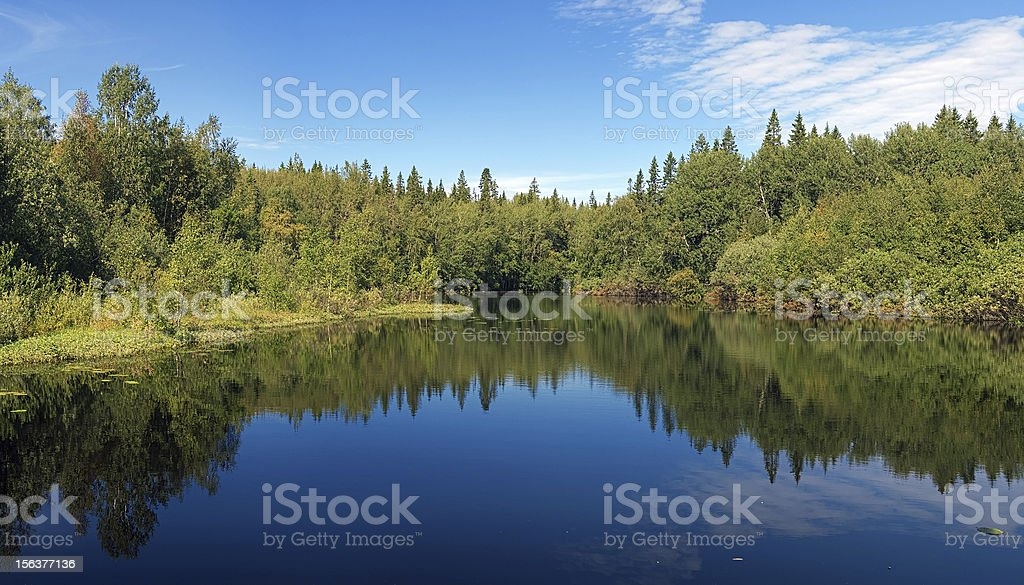 Flow between lakes on the Bolshoy Solovetsky Island, Russia stock photo