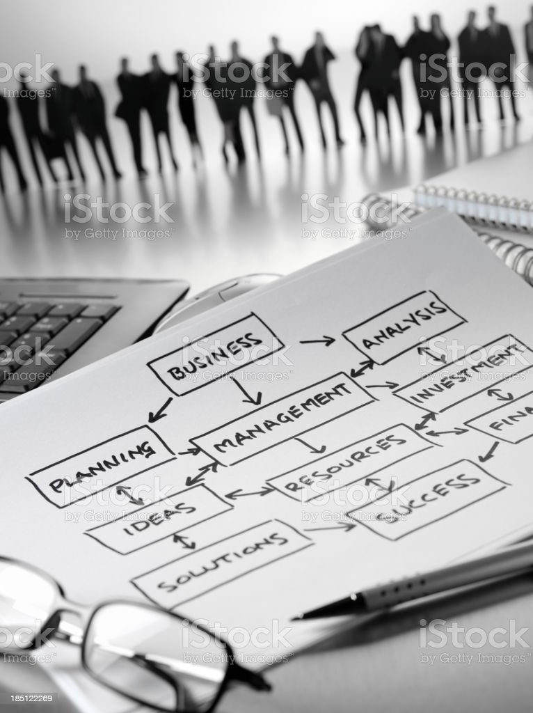 Flow Chart and Teamwork royalty-free stock photo