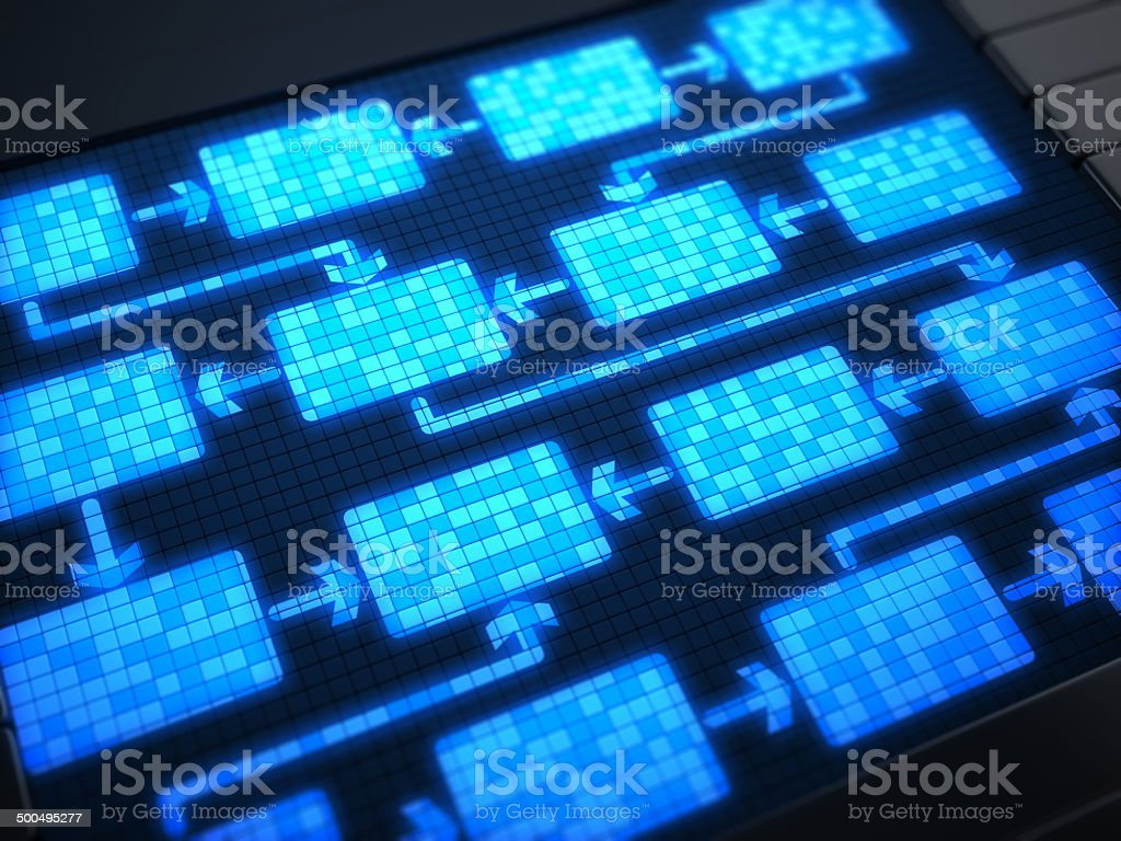 Flow chart on digital screen stock photo