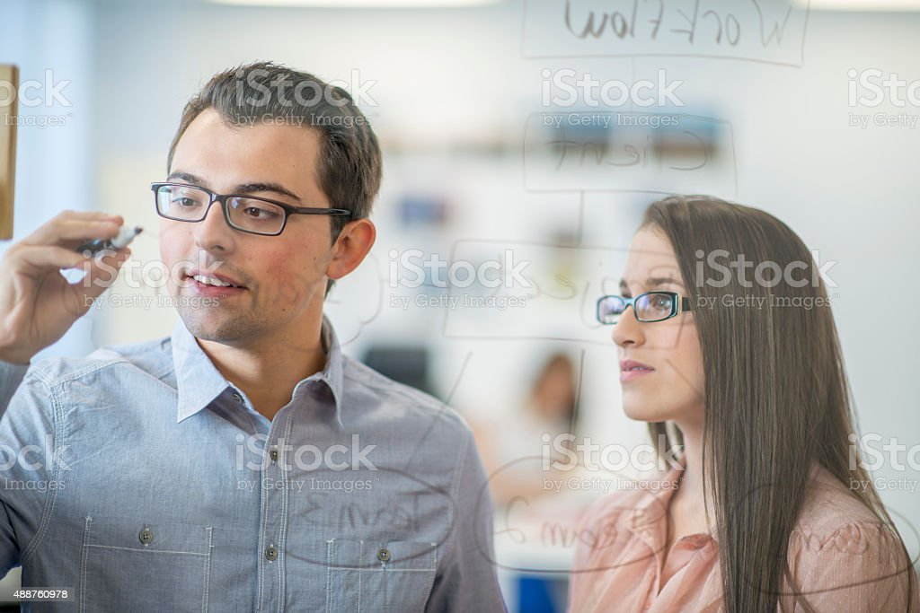 Flow Chart on Glass Window stock photo