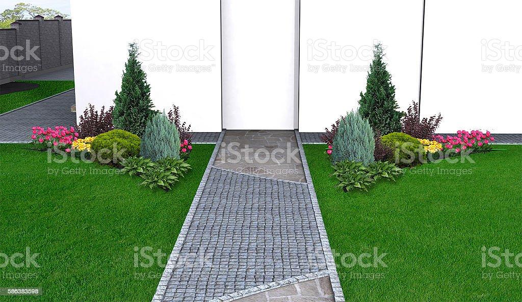 Flow forms in backyard landscape, 3d illustration stock photo