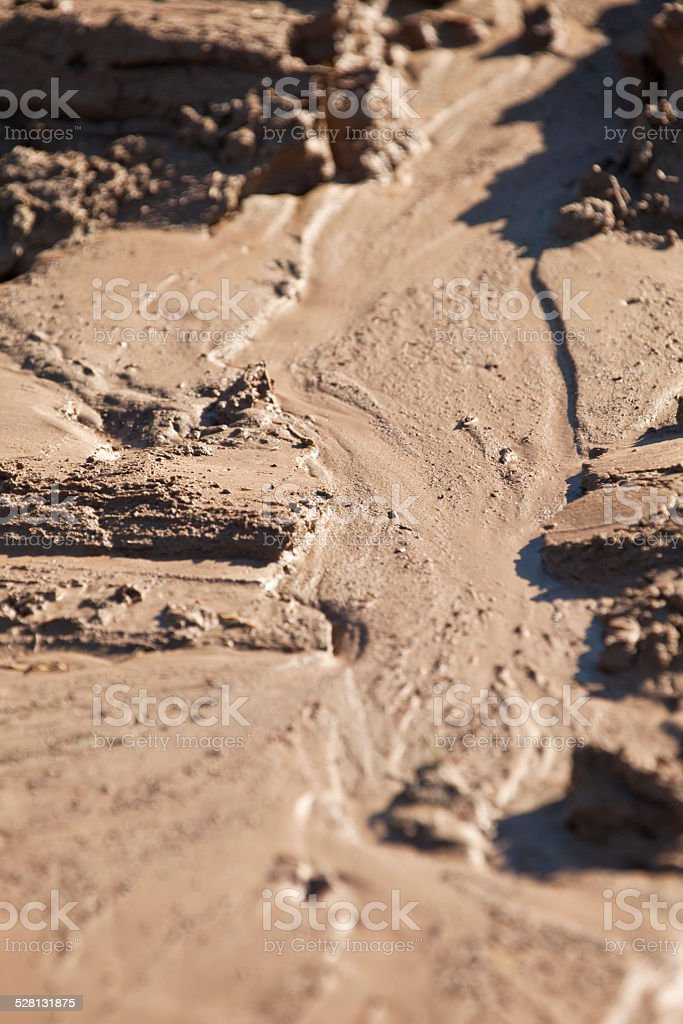 Flow marks in the mud stock photo