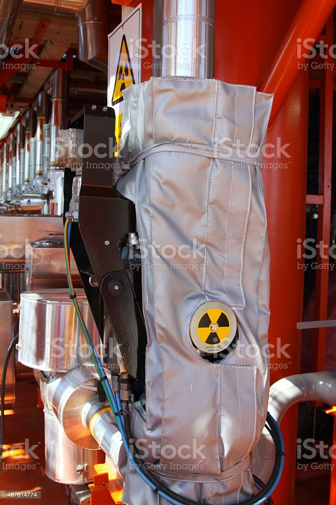 Flow meter, with high radiation sign. stock photo
