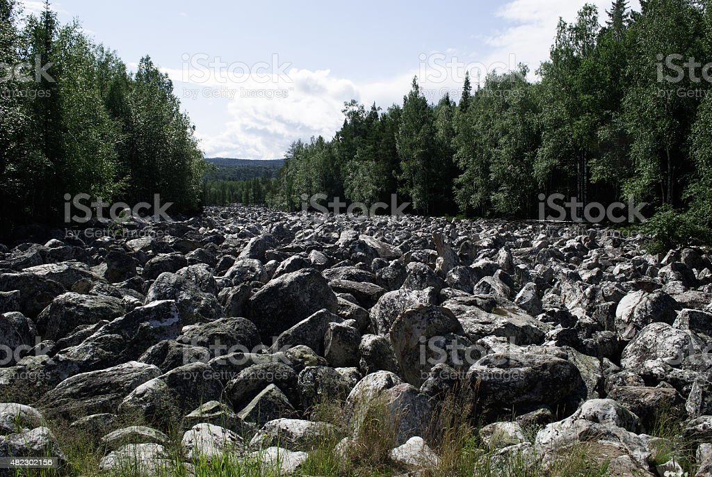 Flow of the river ice age. stock photo