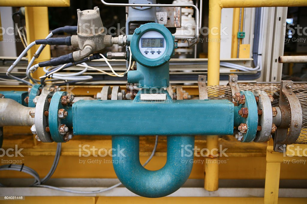 Flow transmitter or Flow transducer equipment function stock photo