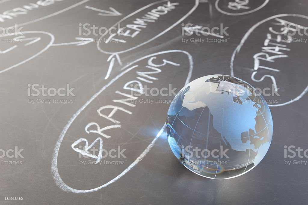 Flowchart on a chalk board with world globe royalty-free stock photo