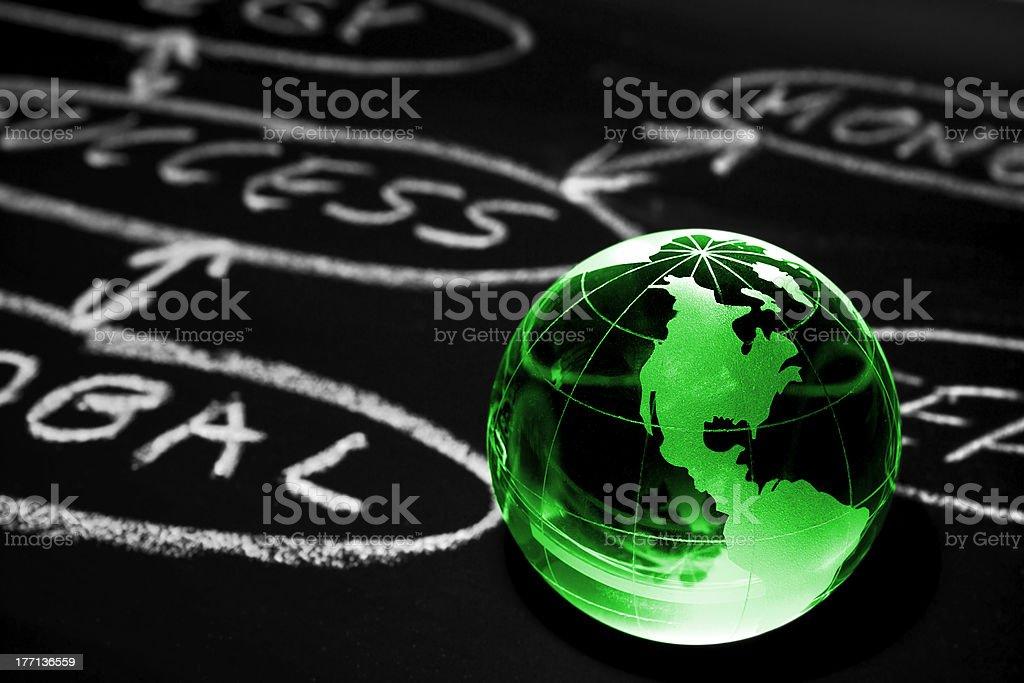 Flowchart on a chalk board. World globe. royalty-free stock photo