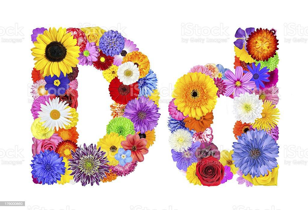 Flower Alphabet Isolated on White - Letter D royalty-free stock photo
