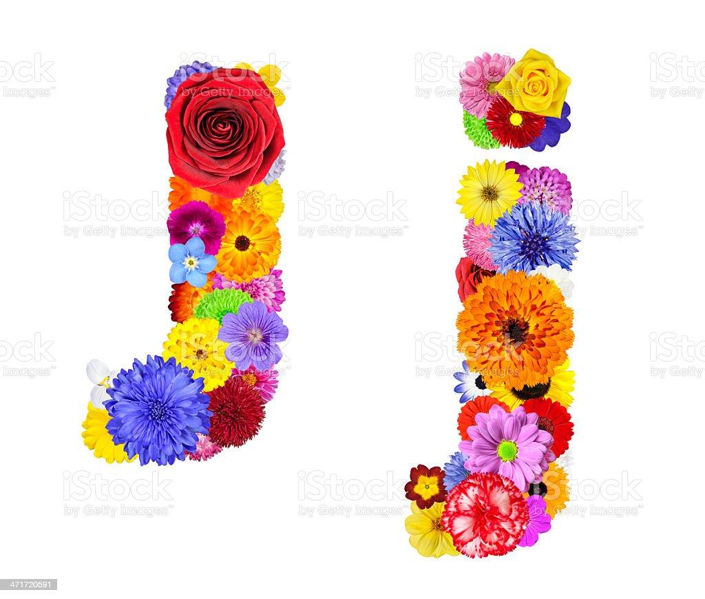 Flower Alphabet Isolated on White - Letter J royalty-free stock photo