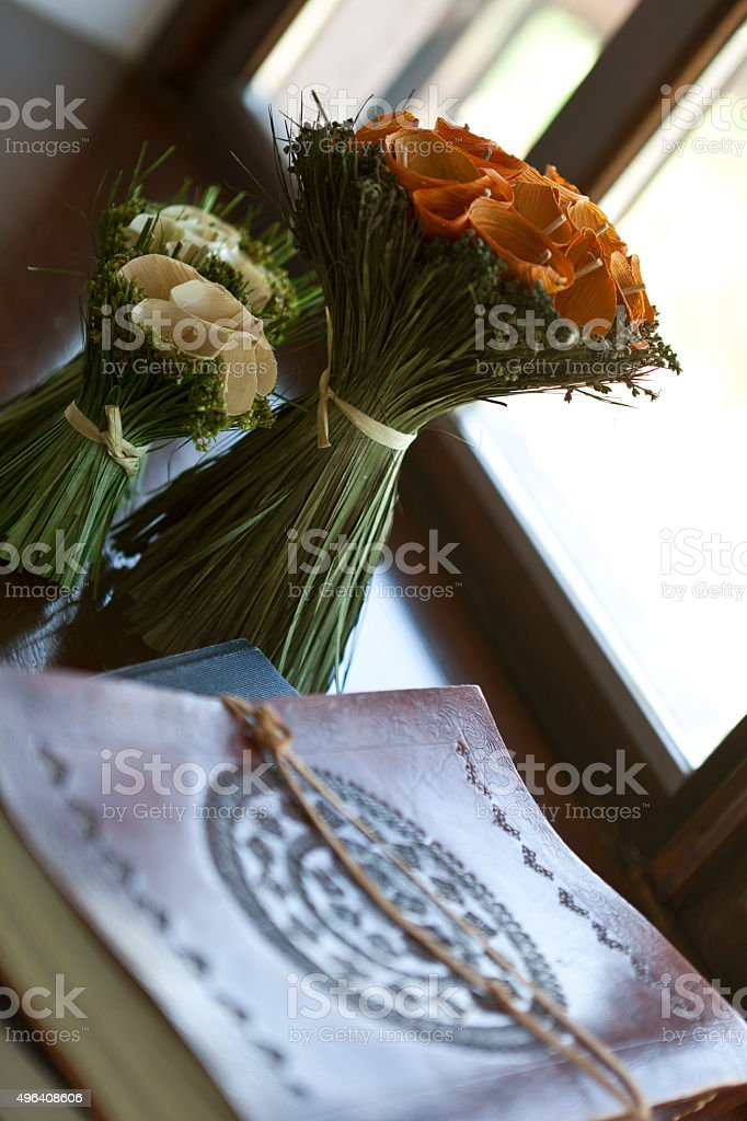 flower and book stock photo