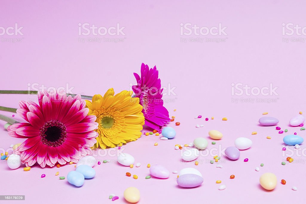 Flower and candies royalty-free stock photo