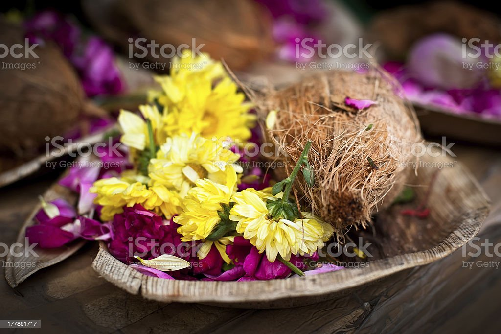 Flower and coconut offerings for Hindu religious ceremony stock photo