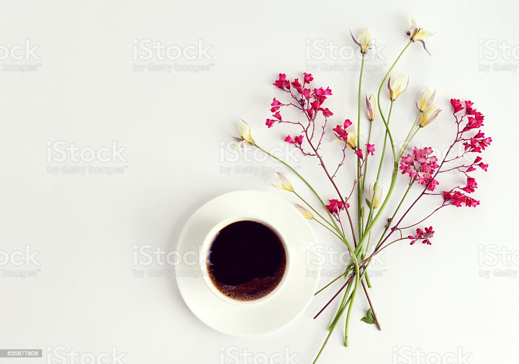 Flower and cup of coffee, composition flatlay stock photo