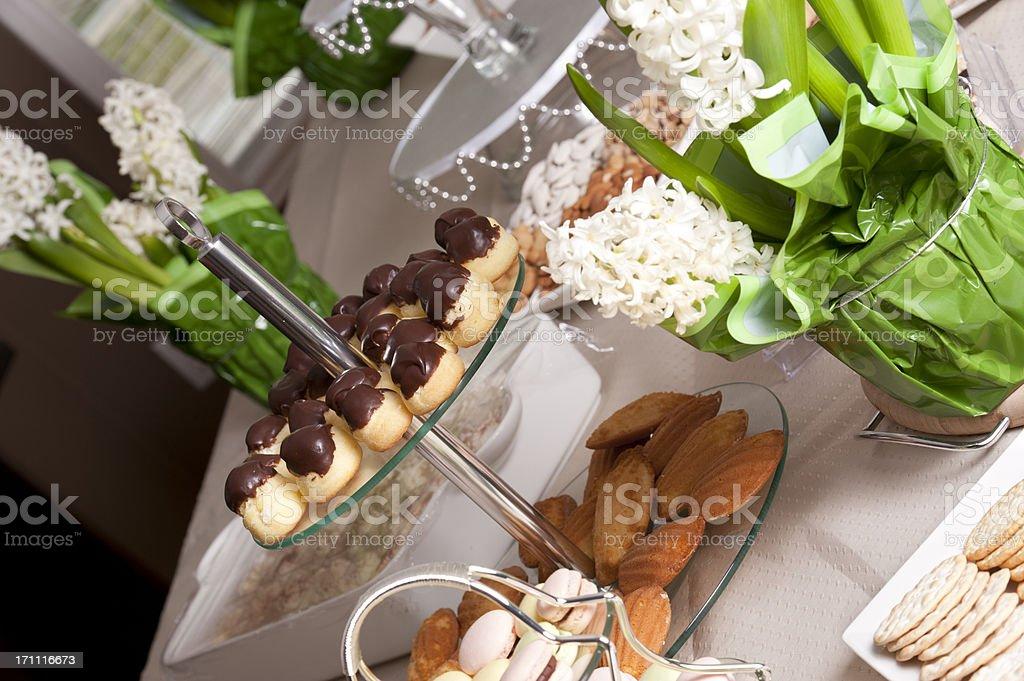 Flower and Dessert Arrangements royalty-free stock photo