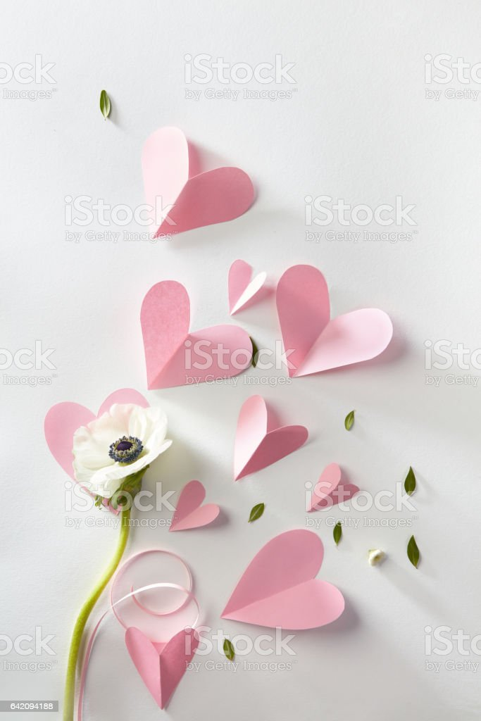 flower and hearts stock photo