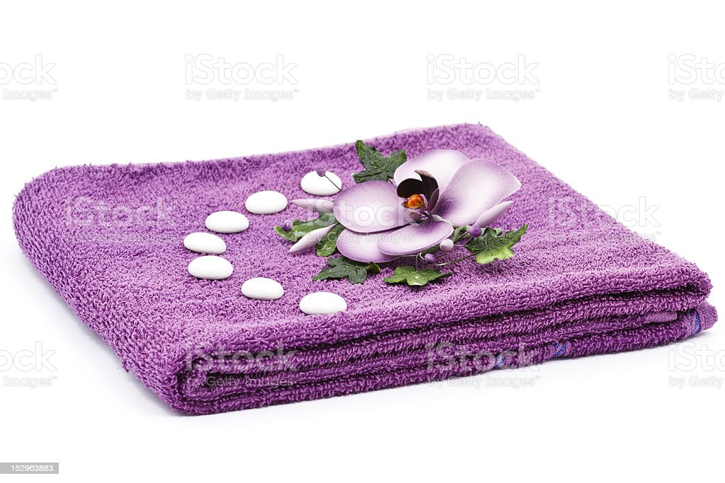 Flower and towel royalty-free stock photo