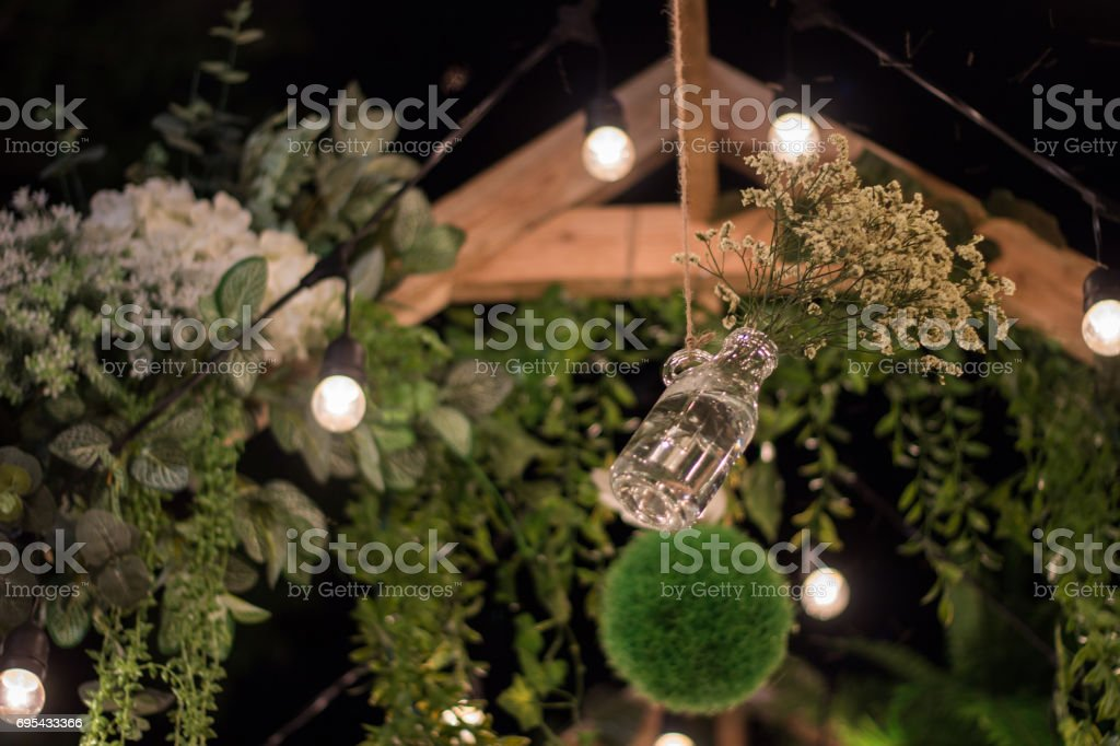 flower and vase decoration garden stock photo