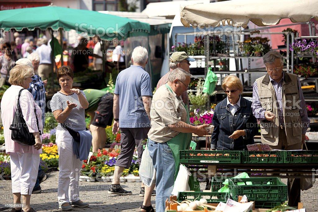 Flower and Vegetables Market in Husum, Schleswig-Holstein stock photo