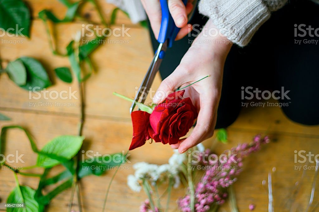 Flower arrangement class detail stock photo