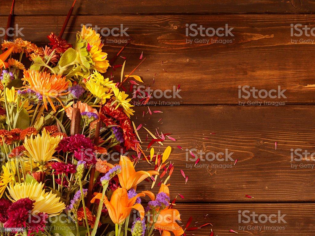 Flower Arrangement on Dark Wood stock photo