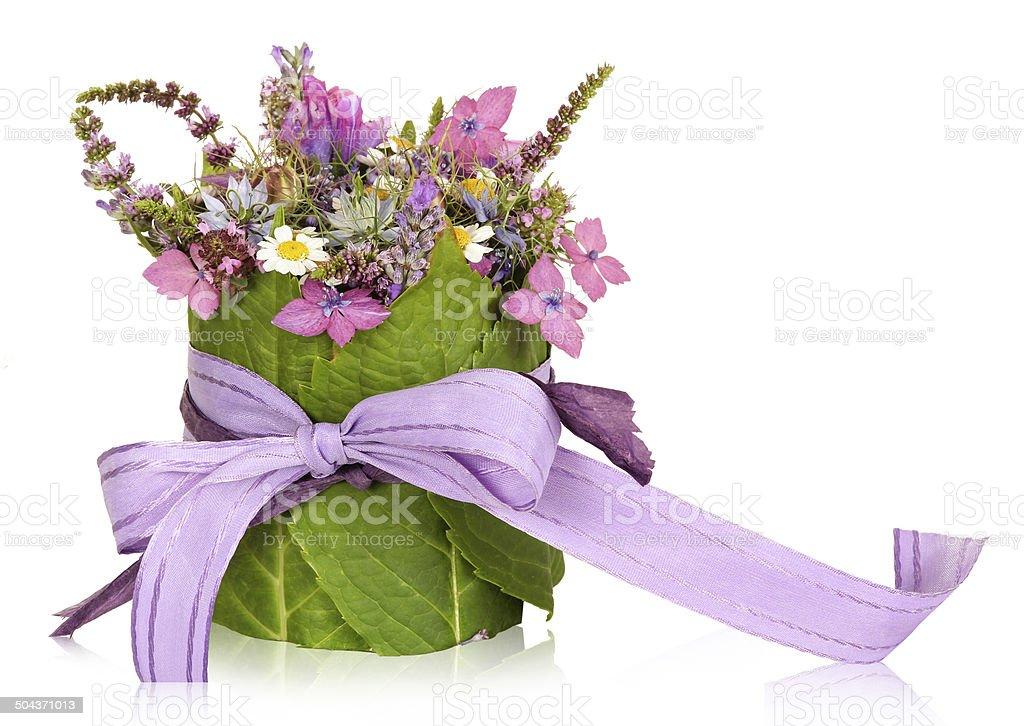 Flower arrangement, table decoration, present stock photo