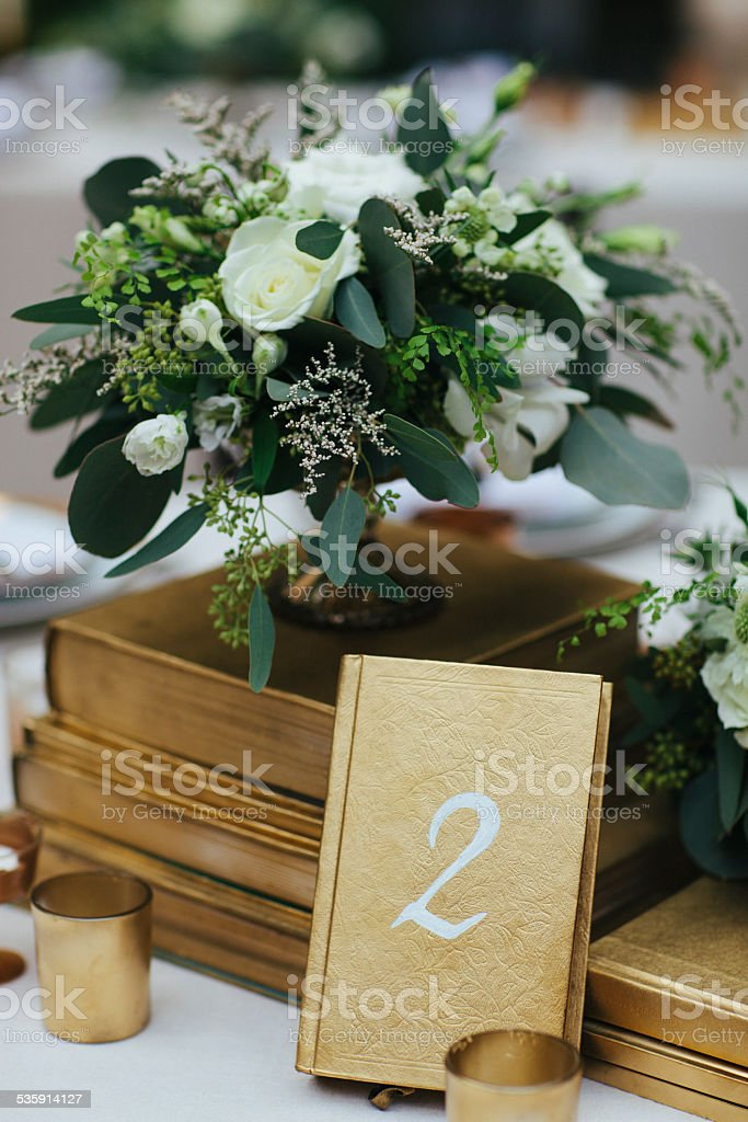Flower Arrangement with Table Number Two stock photo