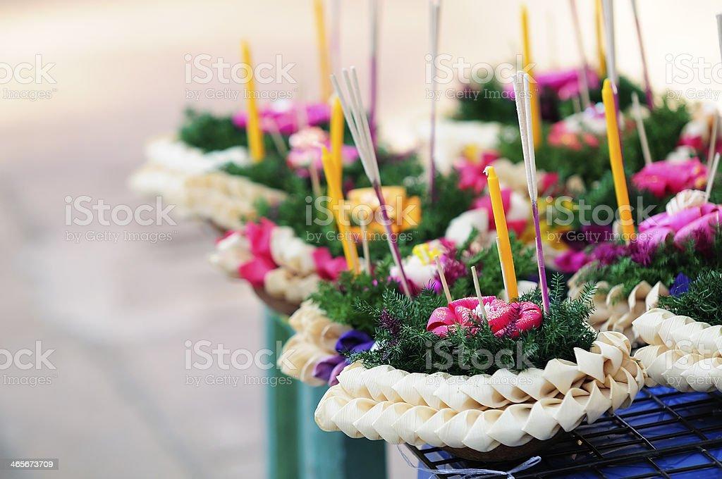 Flower arrangements for Loi Krathong stock photo