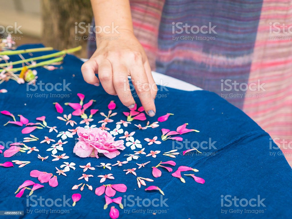 Flower arranging with blurred hand. royalty-free stock photo