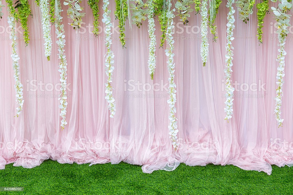 Flower backdrop,the backdrop in the wedding ceremony stock photo