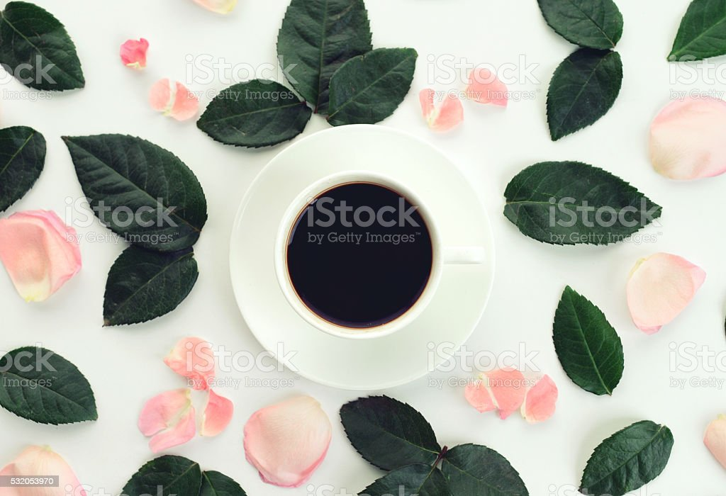 flower background and cup of coffee ,composition flat lay stock photo