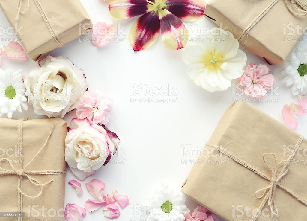 flower background and gift box,composition flat lay stock photo