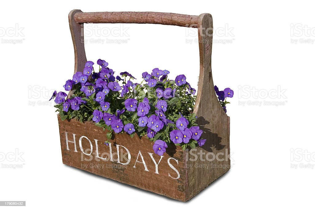 flower basket with holiday written on it royalty-free stock photo