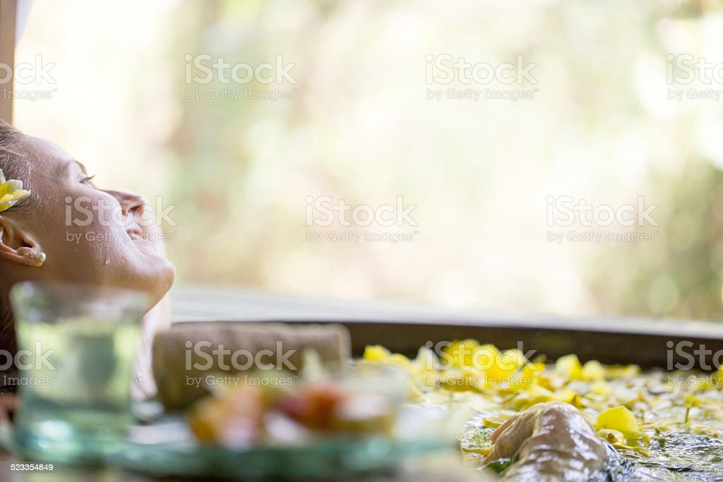 Flower bath stock photo