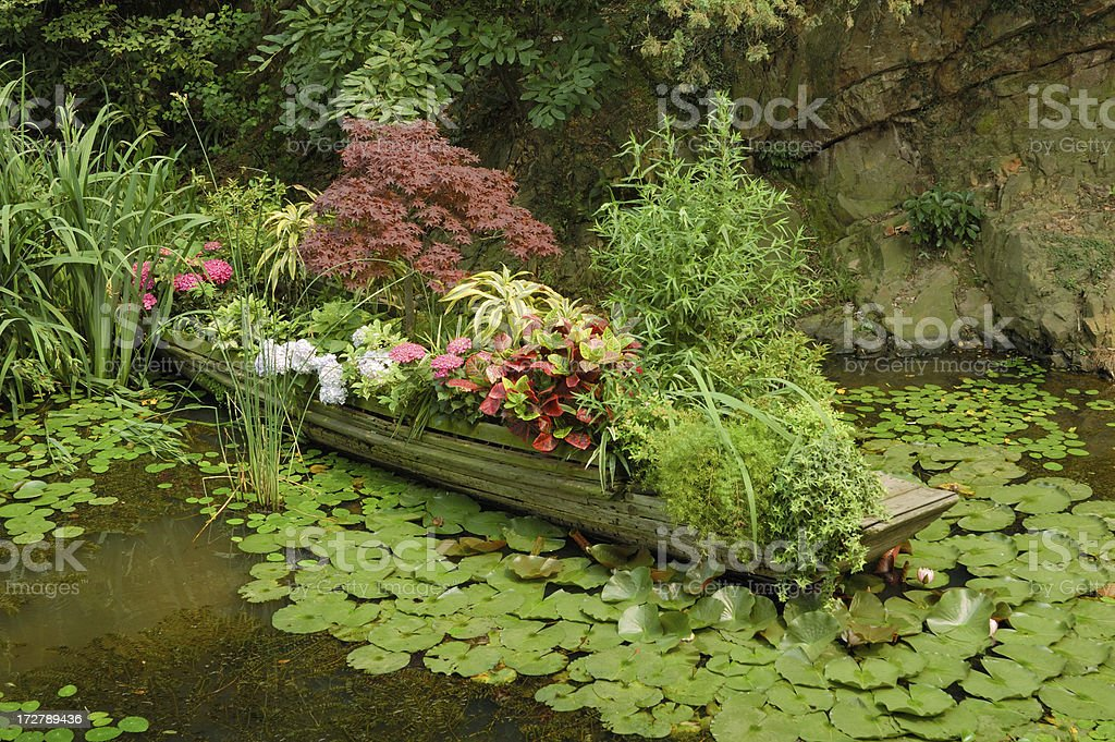Flower Bed on Boat in Wuxi, China royalty-free stock photo