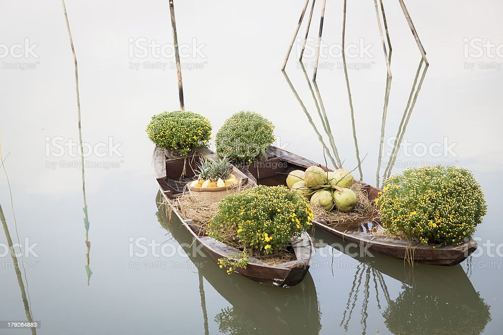 Flower boats royalty-free stock photo