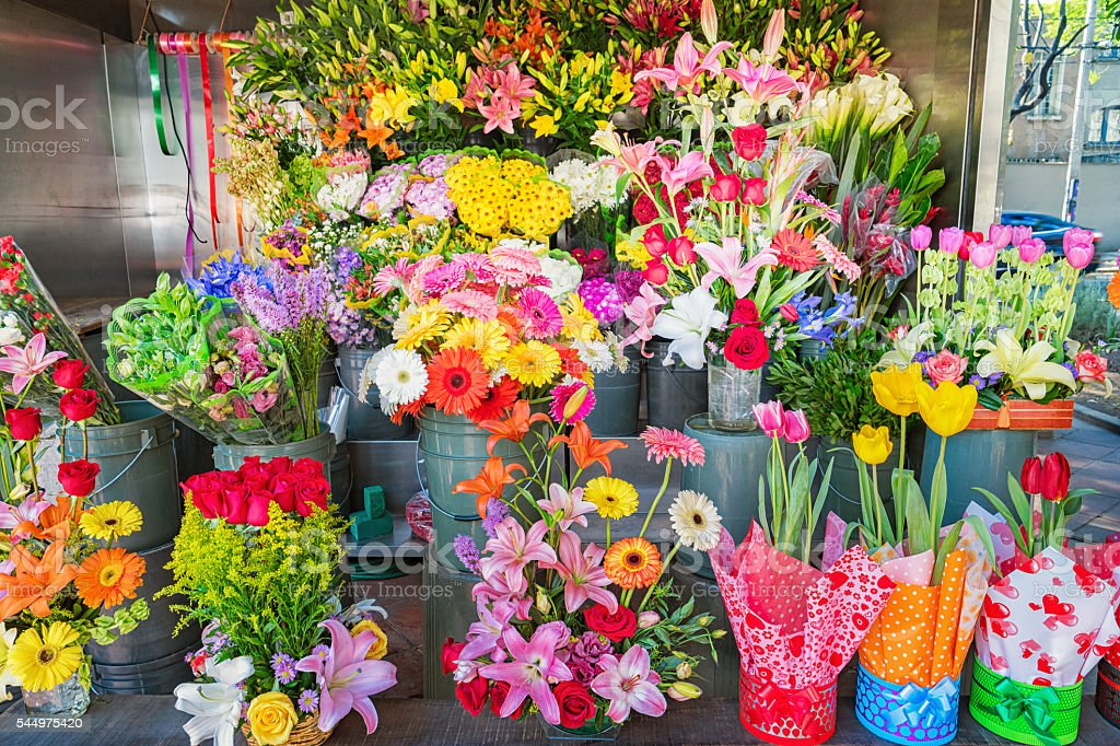 Flower Booth with Colorful Flowers stock photo